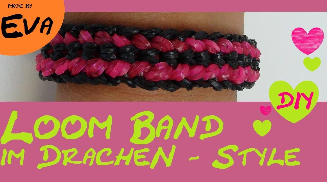 DIY Rainbow Loom Dragon Bracelet. Drachen Armband mit Gabel ohne Loom Board.  deutsch schwer