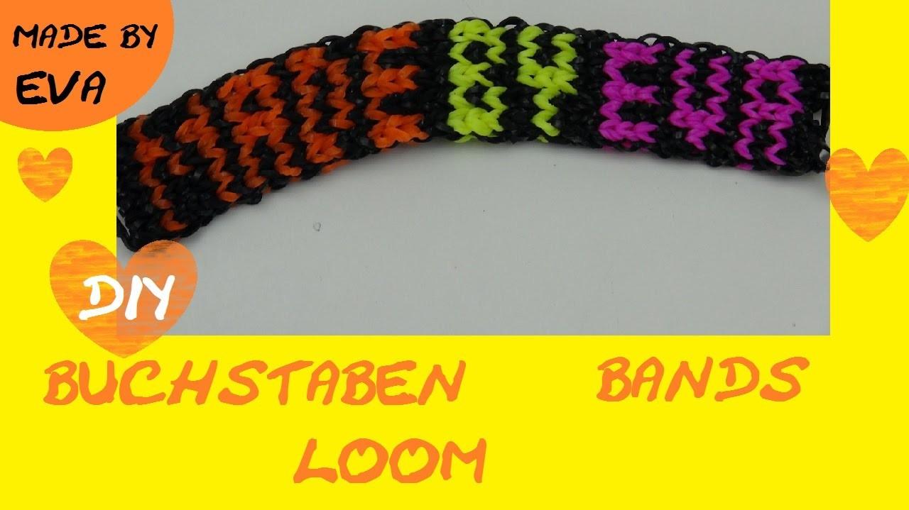 DIY Rainbow Loom Name Bracelet schwer - Loom Buchstaben Namens-Armband Anleitung mit Gabel with Fork