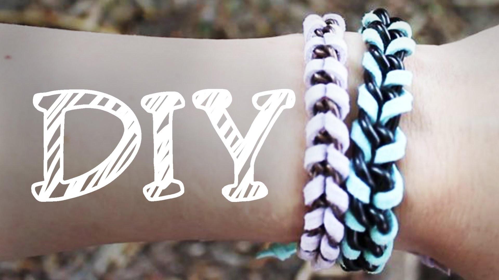 |DIY| umwickeltes Armband - Fischgrät-Optik - Lederarmband - Kettenarmband