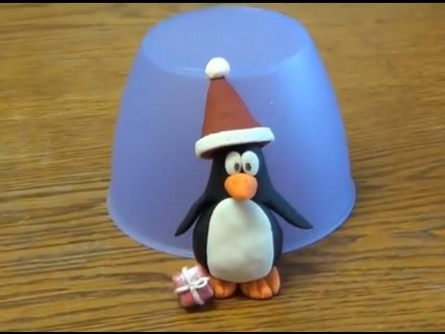 Figuren modellieren: Pinguin mit Weihnachtsmütze Schritt für Schritt Anleitung