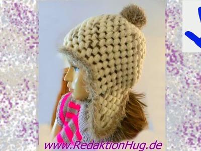 Häkeln - Mütze mit Ohrenklappen aus Feeling und Fur von ONline-Garne