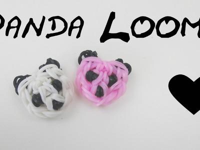 Loom bands Panda Kopf Anhänger m Häkelnadel u Loom board selber machen Anleitung deutsch Panda charm