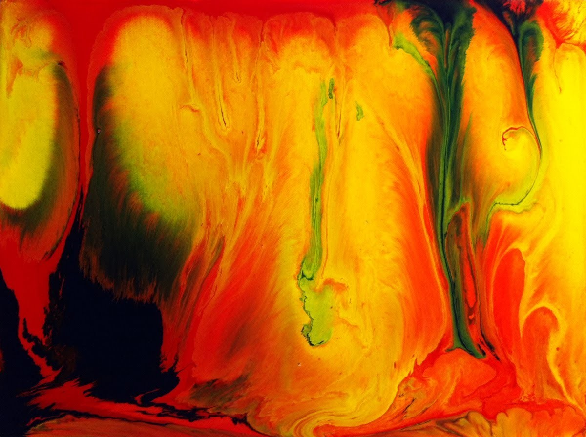 Abstrakte Malerei - Abstract Art Painting with 3 Colors by Brigitte König - Fluid Acrylic Painting
