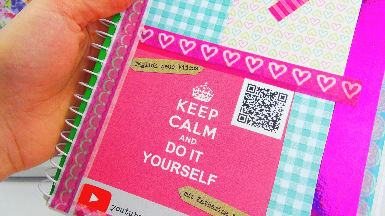 DIY Collegeblock gestalten mit Aufklebern und Pappen | Back to School DIY Anleitung | deutsch