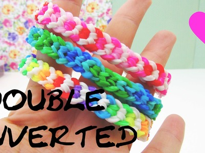 Loom Bands Double Inverted deutsche Anleitung mit Gabel rainbow loom doppelarmband tutorial