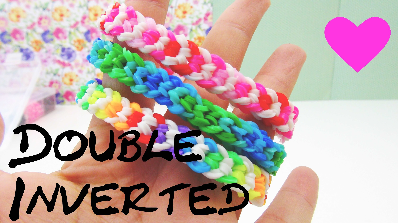 Loom Bands Double Inverted deutsche Anleitung mit Gabel rainbow loom doppelarmband tutorial