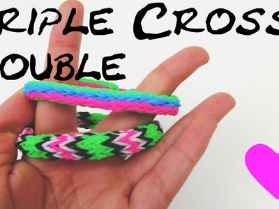 Loom Bandz Triple Cross Double Anleitung deutsch Tutorial | How To make rainbow loom triple bracelet