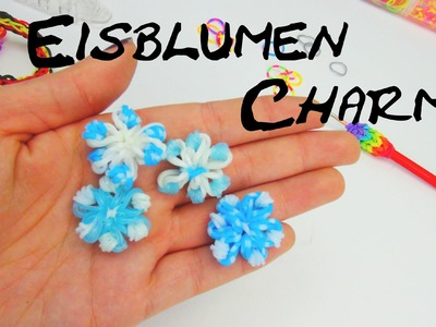 Rainbow Loom Eisblume Anhänger. Ice Flower Charm Loom Band with CROCHET Hook | deutsch