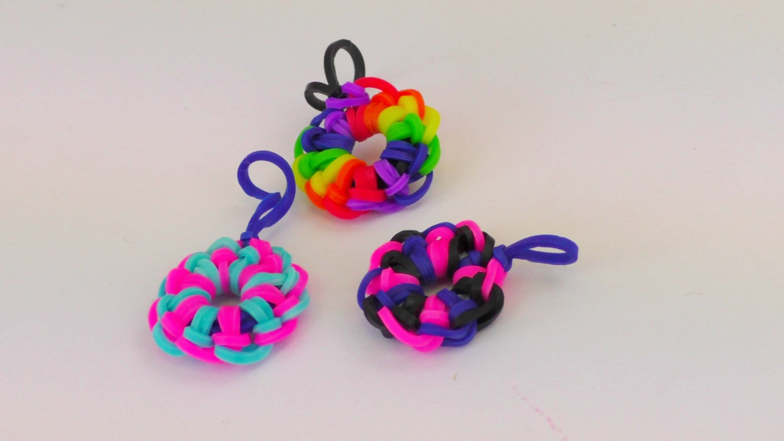 Rainbow Loom Kreis Anhänger. Loom Bands Circle Charm Tutorial deutsch. Kreis Loom Band deutsch