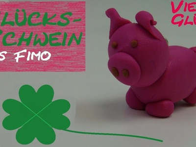 DIY Fimo Glücksschwein. Schweinchen-Anhänger als Geschenk aus Fimo (von Aniela. Anielas Fimo)