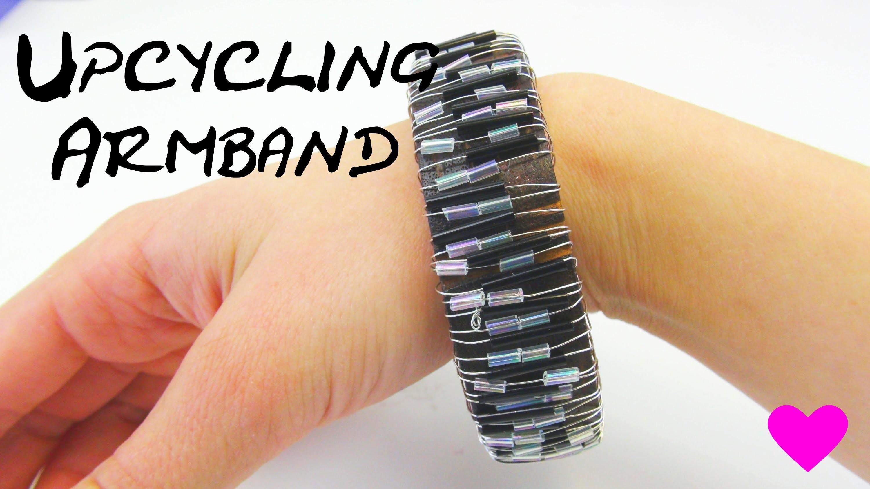 Draht Armband DIY Upcycling Armreifen mit Draht und Perlen selber gestalten Anleitung | deutsch