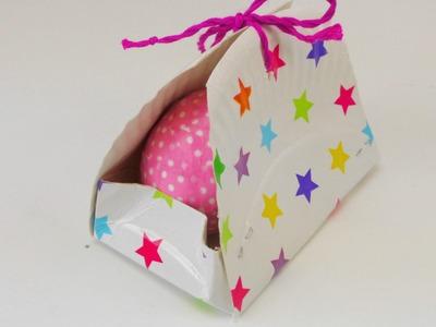 Geschenkbox DIY Ostern. Pappteller Box. Aufbewahrungsbox für Schminksachen deutsch