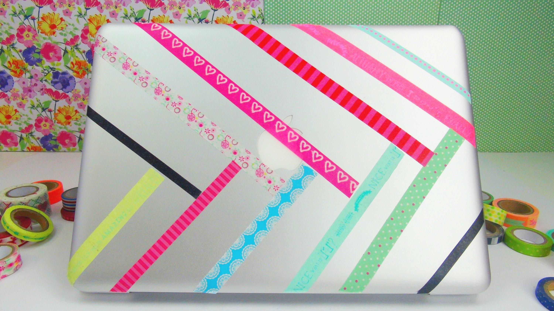Laptop Aufkleber DIY. Notebook. Macbook mit Washi Tape verschönern. bekleben Anleitung | deutsch