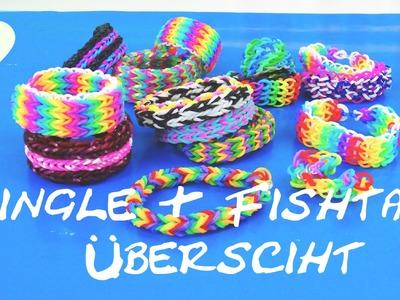 Loom Bands Anleitung deutsch - Welche Fishtail-Armbänder und Single Bracelets gibt es? Übersicht