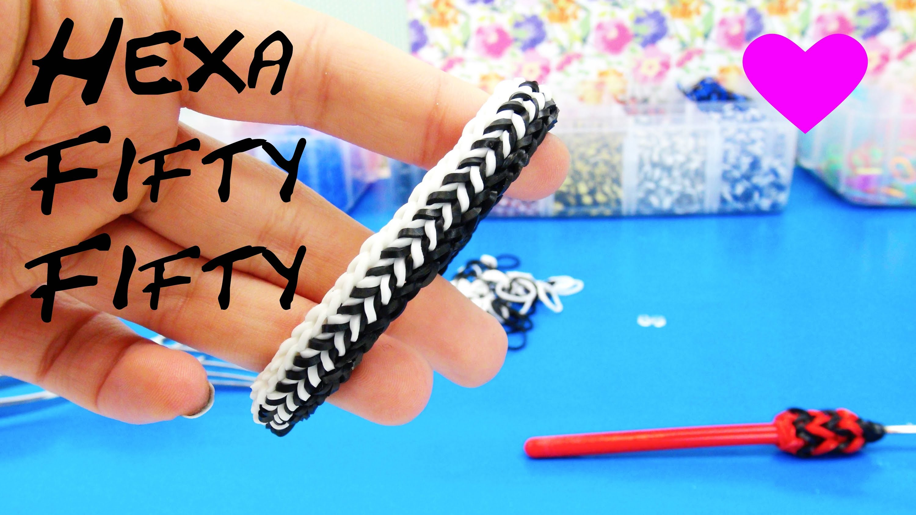 Loom Bands Hexa Fishtail 50.50 Rainbow Loom Band Bracelet. Armband How to | Tutorial | deutsch