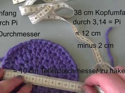 Mützengröße ausrechnen - Mützen häkeln - Tellergröße