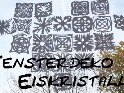 Winterliche Eiskristall- Fensterdeko DIY Schneeflocken Weihnachtlicher Dekotipp Anleitung | deutsch