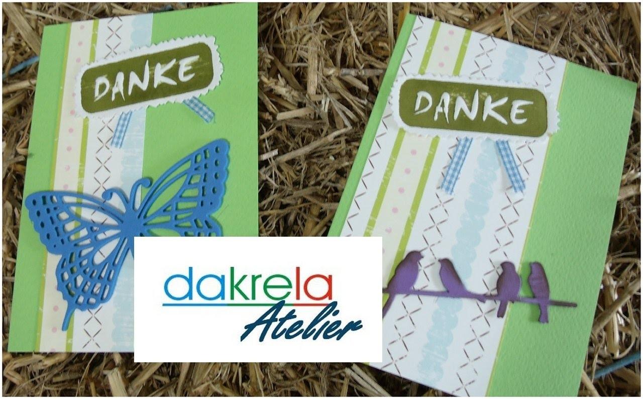 DANKE Karte selber basteln - prägen & drucken mit Holzteilchen - cardmaking