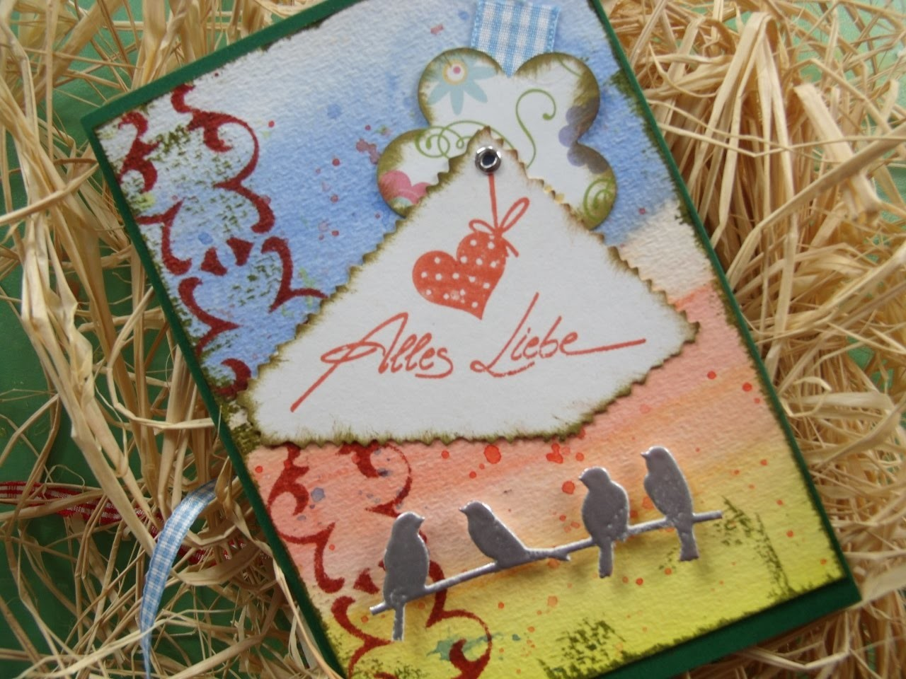 DIY: Karte selber basteln + Aquarellfarbe  + Schablone - cardmaking