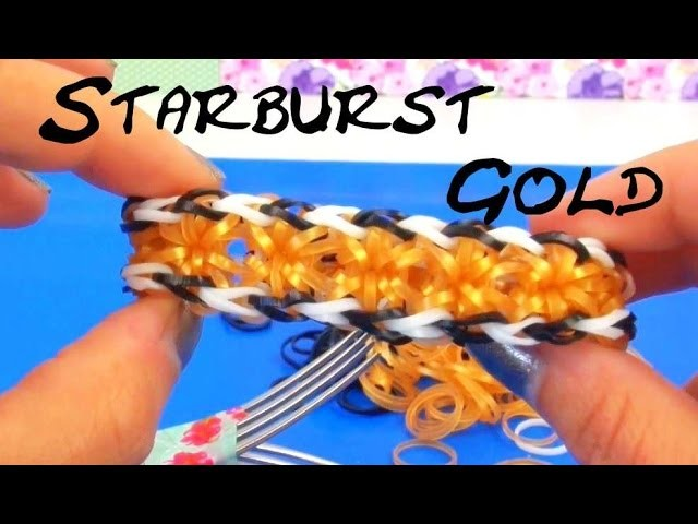 How to make a rainbow loom starburst bracelet with fork Starbust Gold Armband Anleitung | deutsch