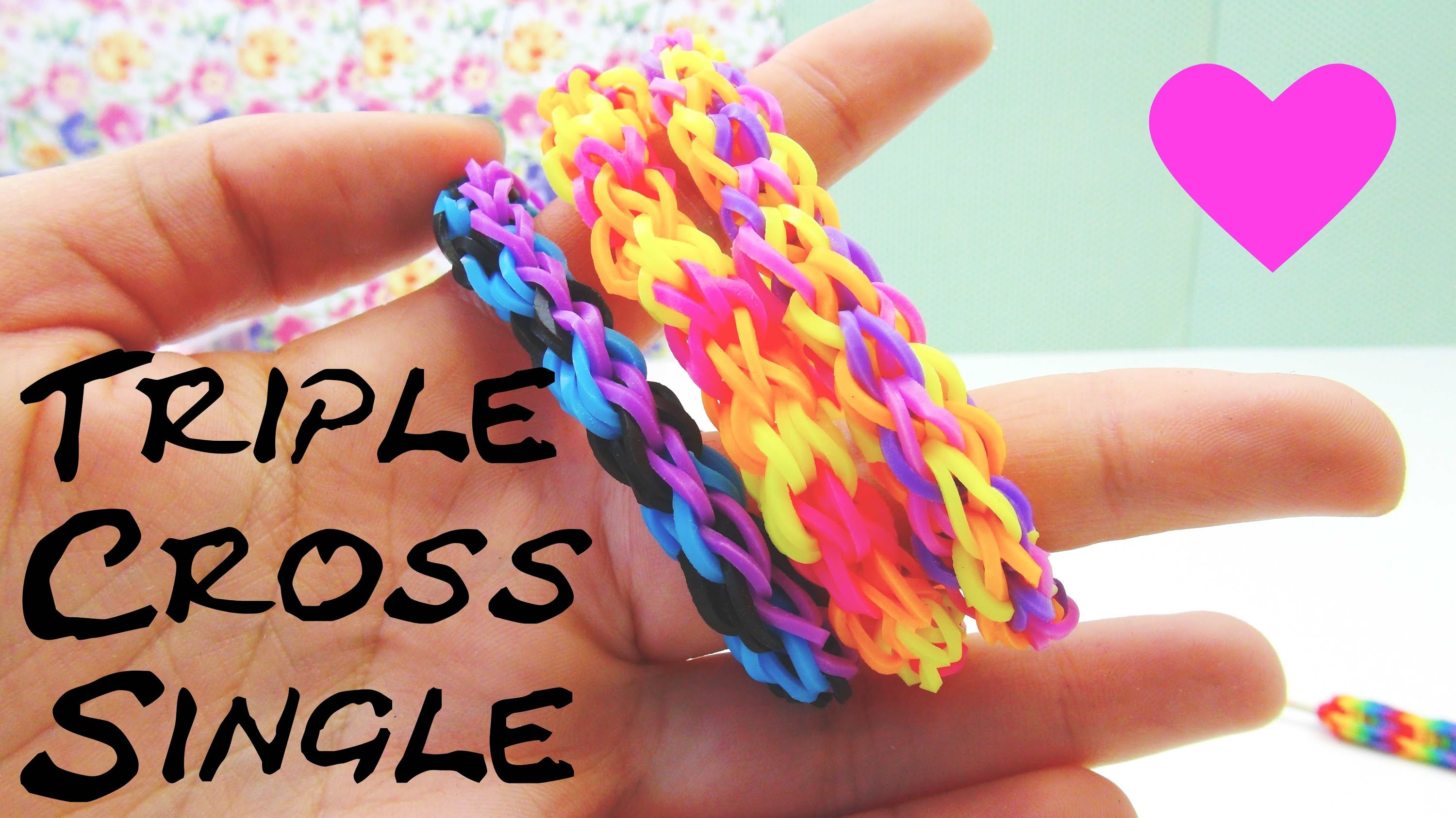 Loom Bands Triple Single Cross Armband Gabel Anleitung. Rainbow Loom triple cross Bracelet Tutorial