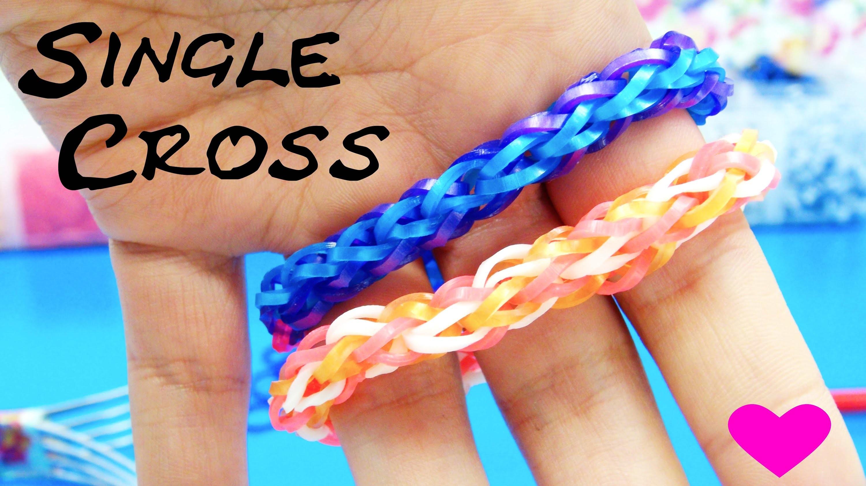 Single Cross Loom Bands Rainbow Loom Single Cross mit Gabel ohne Loom Board Anleitung | deutsch