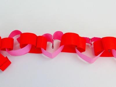Valentinstag DIY Herzgirlande aus Papier falten und gestalten. Girlande. Kette Anleitung | deutsch