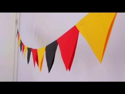 Wimpelkett DIY Deko mit Deutschland Farben Wimpel. Girlande. Fähnchen Anleitung | deutsch