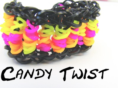 Candy Twist Rainbow Loom Bracelet. Armband Loom Bands Twisted Braclet Tutorial | deutsch