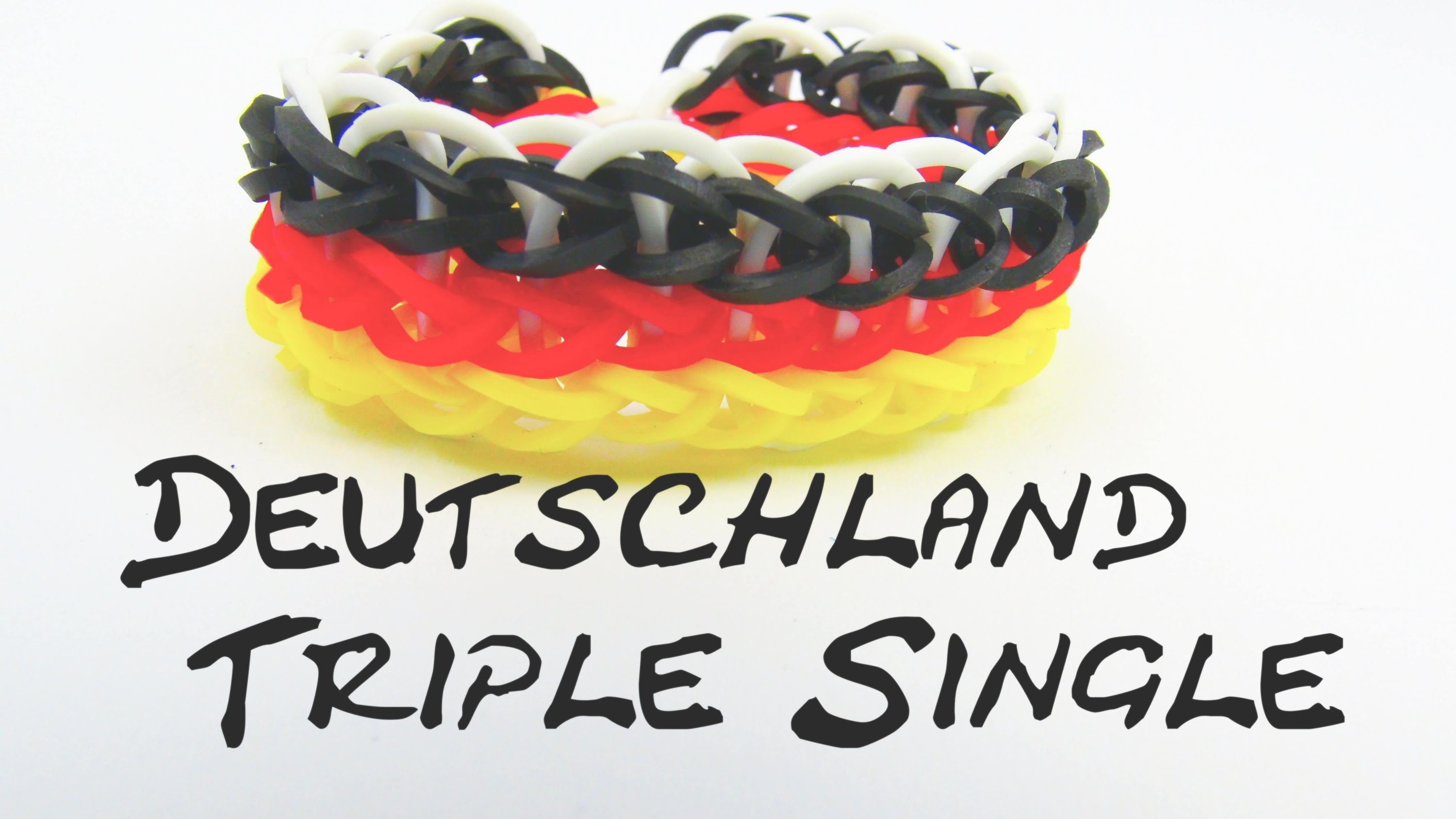 Loom Bands Triple Single Rainbow Loom Deutschland Farben Armband. Bracelet Tutorial | deutsch