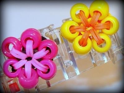 Blumen-Ring mit Perlen - Loom Bands mit Rainbow Loom