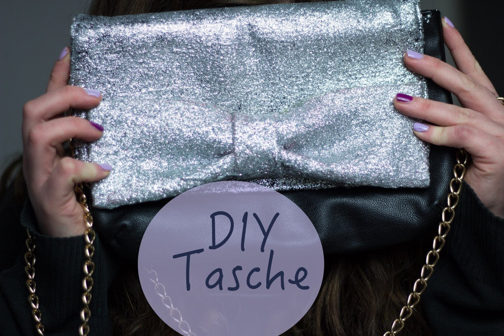 DIY easy Glitzertasche mit Schleife