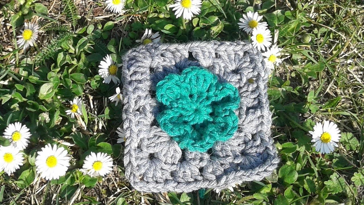 Granny Square mit Blume häkeln - Anleitung