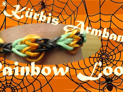 Rainbow Loom Halloween Kürbis Armband Anleitung Deutsch. Loom Bands