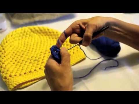 """VhsStrickMooc - Tutorial 9a: eine """"Puff-Stitches-Mütze"""" häkeln"""