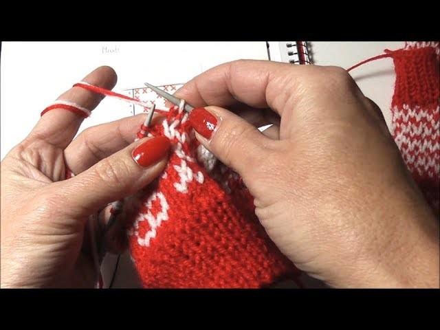 Zweifarbiges Muster stricken, Handschuhe, Stulpen