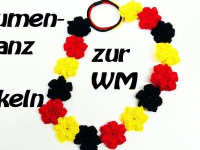 Häkeln Blumenkranz - Haarband - Ideal zur WM und im Sommer - Trendy!