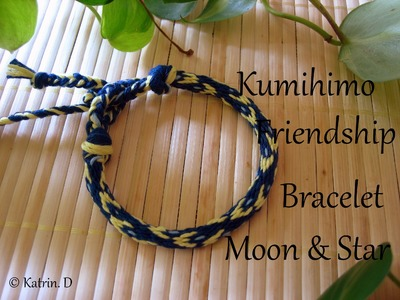 Kumihimo Friendship Bracelet Moon & Star