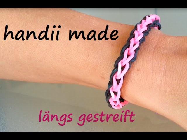 Loom Bands Armband *** längs gestreift *** Gabel Variante 1 (Anleitung deutsch)