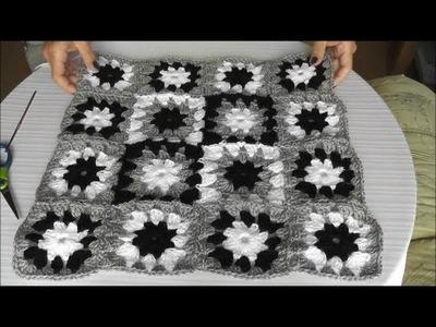 Patchwork Häkelkissen  - Mehrfarbiges Muster, Quadrate zusammenhäkeln, Teil 2.3