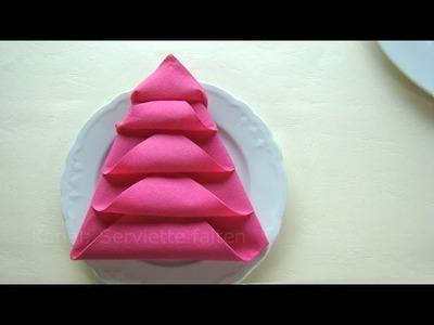 Weihnachtsdeko basteln - Servietten falten Weihnachten: Weihnachtsbaum