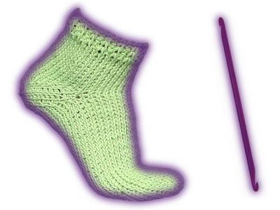 Wooly Tricks Socke tunesische Häkelanleitung für Linkshänder