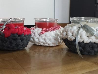 Häkeln mit Textilgarn - Teelicht verschönern