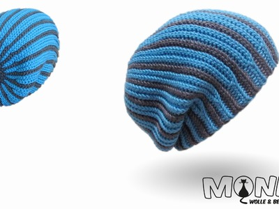 Longbeanie zweifarbig bosnisch häkeln - Mütze häkeln - Kettmaschen häkeln