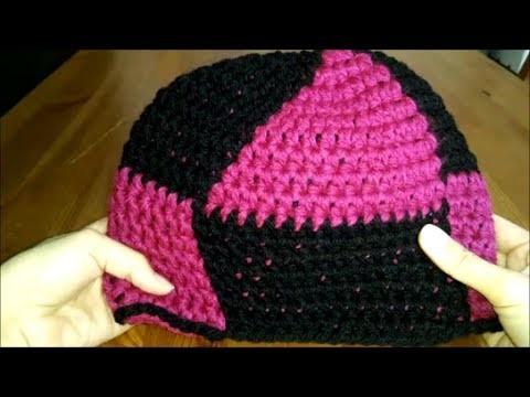 Mütze häkeln mit Muster, Dreieck, Raute