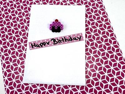 Geburtstagskarten selber basteln deutsch - Geburtstagskarte mit Bügelperlen und Washitape