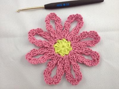 Häkeln - Häkelblume mit Blütenbogen