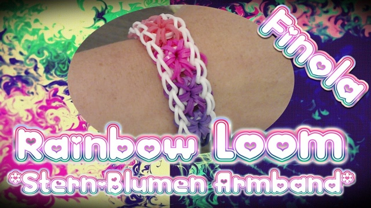 Rainbow Loom Stern-Blumen Armband Anleitung Deutsch. Loom Bands