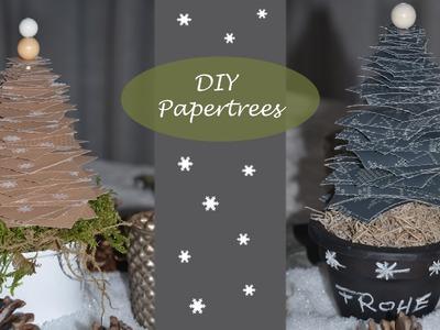 """Weihnachtliche Tischdeko - """"Papertrees"""". Tannenbäume aus Geschenkpapier"""