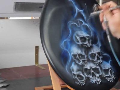 Airbrush Videotutorial Skulls & Candyblue Flames - Schablone für Schädel Totenköpfe
